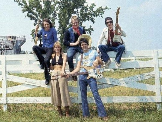 Wings on the farm in Lebanon summer of 1974 with Denny Laine at top left