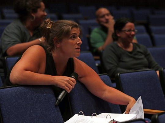 """Director, director Julie Colangelo-Dore rehearse scenes with the cast from """"BIG FISH"""" at Rye Country Day School on July 18, 2016."""