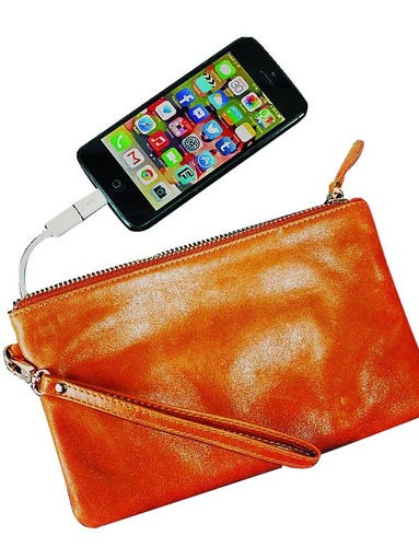 The Mighty Purse leather clutch features a lightweight built-in battery that can recharge your smartphone on the go. $151.69 at www.firebox.com.