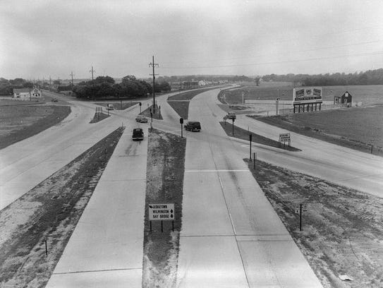 The Five Points intersection during the 1950s was a