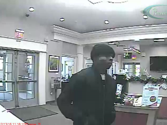 A photo released of one of two suspects being sought in the robbery of a Canandaigua National Bank branch on Alexander Street on Dec. 13, 2016.