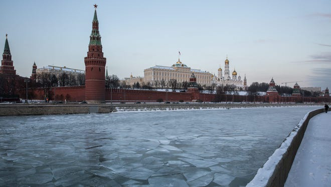 General view of the Moscow Kremlin, Russia, Jan. 2017.