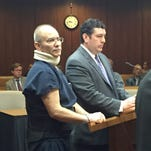 Jerry Ficht, left, with his attorney, Vincenzo Manzella, appear June 28, 2016 in Macomb County Circuit Court for Ficht's sentencing in the 2015 assault of his Macomb Township neighbor, who was leaf blowing. The sentencing was adjourned until July.