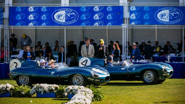 These rarely seen Le Mans-winning Jaguar D-Type autos were honored at this year's Amelia Island Concours d'Elegance.