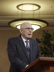 "In this Jan. 27, 2015, file photo, Dallin H. Oaks, a member of the Quorum of the Twelve Apostles of the The Church of Jesus Christ of Latter-day Saints, speaks during a news conference at the Conference Center, in Salt Lake City. The Mormon Church is criticized Kentucky clerk Kim Davis, Tuesday, Oct. 20, 2015, for refusing to license gay marriages. Mormon leaders say we should find common ground instead and seek compromises between protecting religious liberties and prohibiting discrimination. Oaks says our cultural differences should not become ""culture wars."""
