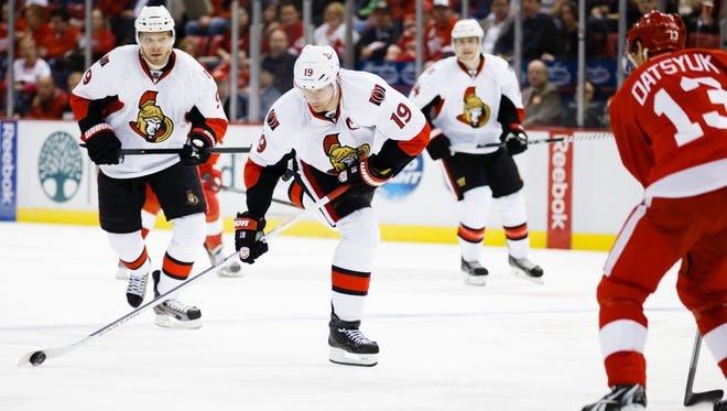 Ottawa Senators center Jason Spezza (19) shoots the puck in the second period against the Detroit Red Wings.