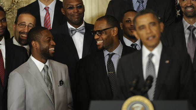 LeBron James is to President Obama's left at a 2013 event honoring a Miami Heat championship.