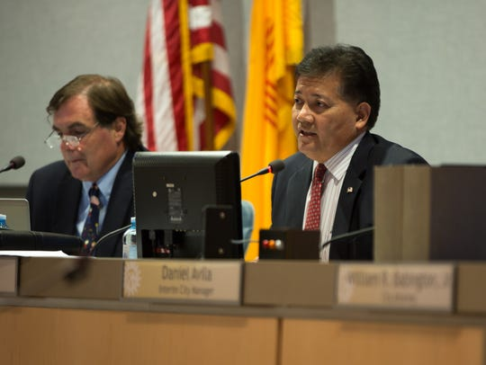 Las Cruces Mayor Ken Miyagishima speaks during a meeting