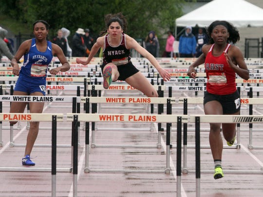 Louise Jones of Nyack, center, finished second in the