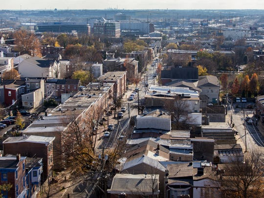 North Madison Street and West Center City can be seen from the bell tower of the Sacred Heart Oratory.