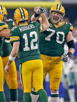 Packers guard T.J. Lang and quarterback Aaron Rodgers had lots of celebrations while they played together.