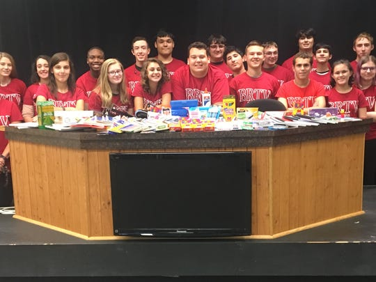 Members of BRTV, members of the Family & Consumer Science Department with their school supply donations. (from left (front row): Ms. Judith Raphel, Victoria Macario, Jessica Pochek, Dana Zeller, Teddy Lubliner, Ari Feinstein, Benjamin Wishnie, Hannah Grynberg and Amanda Pochek; and (back row) Ms. Julia Kubian, Kathryn Blood, Elisa Tarbell, Justin Hawthorne, Zach Menendez, Mike Rosa, Corey Alaburda, Zach Kenin, DJ Berchoff, George Esposito, Peter Di Prospero, Beck Timmermann, Ms. Linda Krajewski and Ms. Mindy Sweetwood.