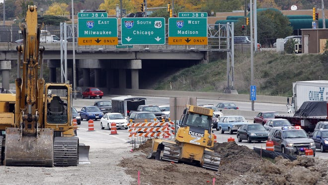 Construction work continues on the ramp from northbound U.S. 45 to 95th St. between W. Blue Mound Road and W. Wisconsin Ave. in 2012 as part of the $1.7 billion rebuild project of the Zoo Interchange.