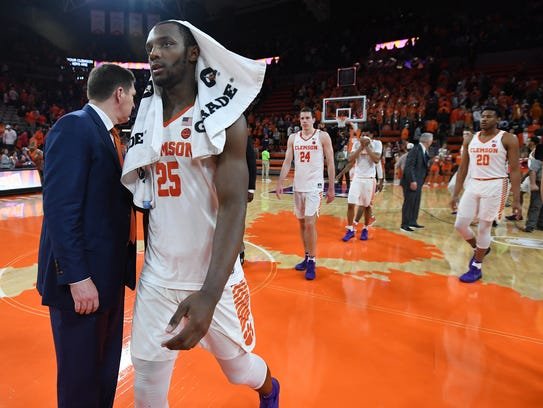 Clemson forward Aamir Simms (25) after the Tigers loss
