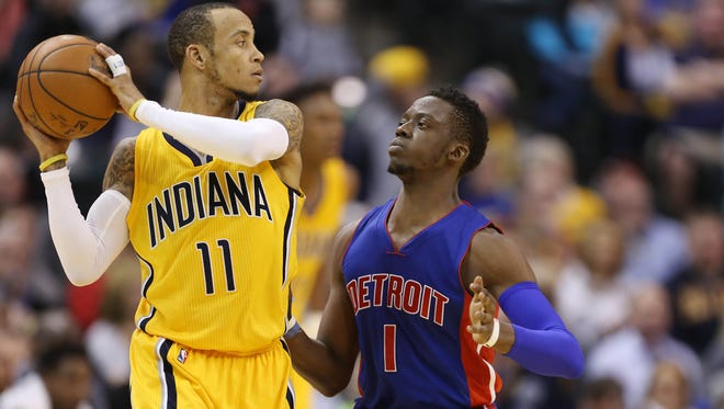 Detroit Pistons guard Reggie Jackson (1) defends Indiana Pacers guard Monta Ellis at Bankers Life Fieldhouse.