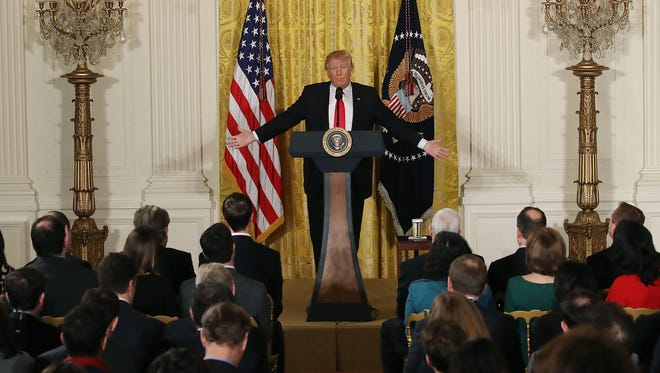 President Trump speaks during a news conference in the East Room of the White House on Feb. 16, 2017.