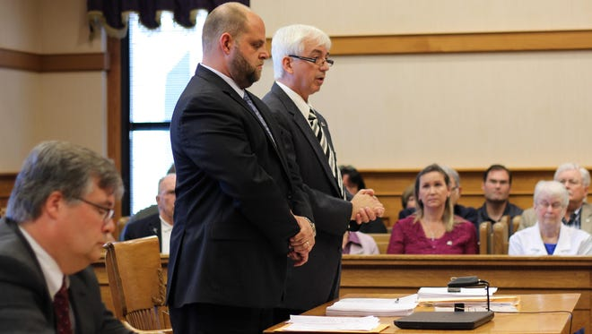 Former State Rep. Steve Kraus, right, shown addressing the court during his sentencing August 2015 sentencing hearing, was denied a petition for post-conviction relief after the appeals court ruled on Friday that he failed to meet the filing deadline.