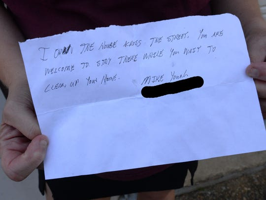 A letter was left at the Cox's house door offering
