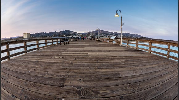 A photo of the Ventura Pier shot with an Olympus EM-1 and Lumix 8mm Fish Eye lens.