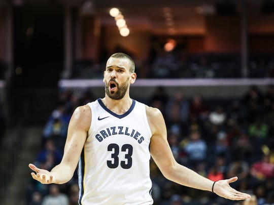 March 02, 2018 - Marc Gasol calls to a referee after having a foul called on him during Friday night's game versus the Denver Nuggets at the FedExForum.