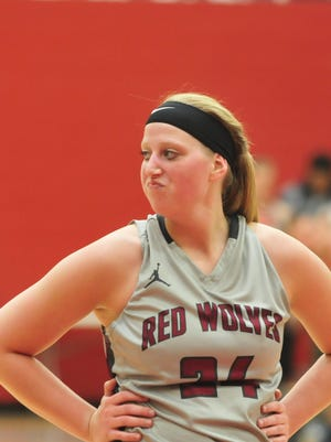 Keragan Niehoff of the IU East women's basketball team reacts as the Red Wolves hosted IU Kokomo in the River States Conference women's basketball tournament championship game Tuesday, Feb. 28, 2017.