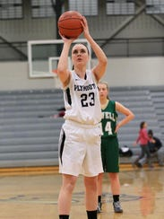 Taking a free throw during a game last season is Plymouth's