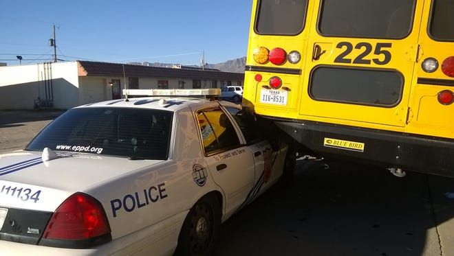 An El Paso police car collided with a school bus Wednesday in Northeast El Paso. No children were in the bus at the time and no injuries were reported.