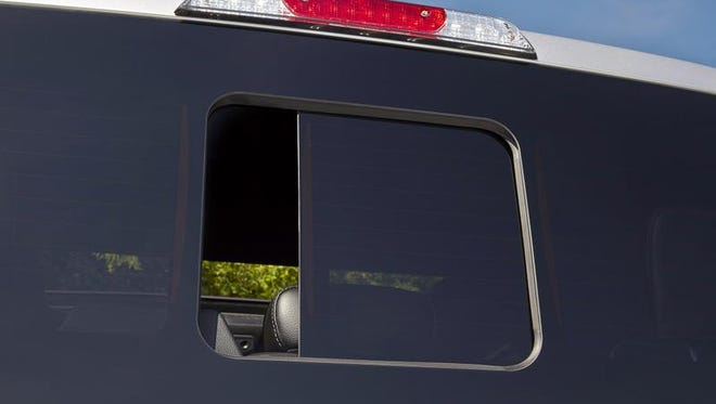 The seamless sliding rear window on the 2015 Ford F-150. It will be about a $350 option on the XL and XLT packages. It will be standard on higher trim levels of the F-150.