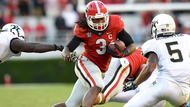 RB Todd Gurley only played in six games for Georgia in 2014.