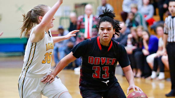 Dover's Rajah Fink leads all the York-Adams League girls' basketball players in scoring at 25.1 points per game. DISPATCH FILE PHOTO