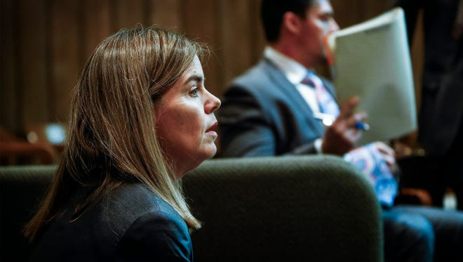 Shelby County District Attorney General Amy Weirich appears in Judge Mark Ward's courtroom Friday, where attorneys for Tennessee death row inmate Andrew Thomas have filed a motion seeking her office's removal from retrying his case.