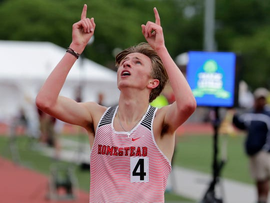 Drew Bosley of Homestead celebrates after winning the