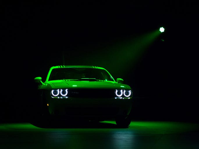 The 2015 Dodge Challenger is unveiled during a media event at the New York International Auto Showat the Jacob K. Javits Convention Center.