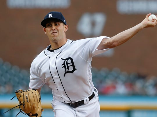 Detroit Tigers pitcher Matthew Boyd throws against the Philadelphia Phillies in the first inning of a baseball game in Detroit, Tuesday, July 23, 2019. (AP Photo/Paul Sancya)