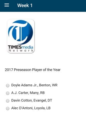 The Player of the Week page on The Times' Friday Night Live football app.