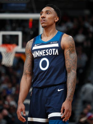 Minnesota Timberwolves guard Jeff Teague (0) in the second half of a game Wednesday, Dec. 20, 2017, in Denver.