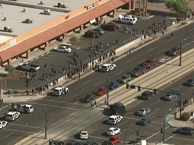 A group of students walked out of Alhambra High School