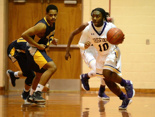 Crisfield's Ryan Waters brings the ball down the court