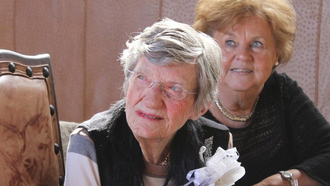 Dr. Virginia Connally, left, was honored with lunch and an award from Hardin-Simmons University to honor her longtime support of mission work on the occasion of her 105th birthday last summer. Joining her was her daughter, Genna Davis, of Waco.