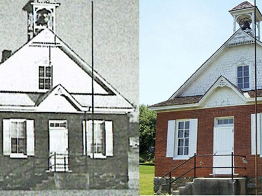 """Fissel's One Room Schoolhouse served students from 1896 until the 1950s.The renovated school, above right, will host an open house with a """"Christmas in July"""" theme on Sunday, July 26."""