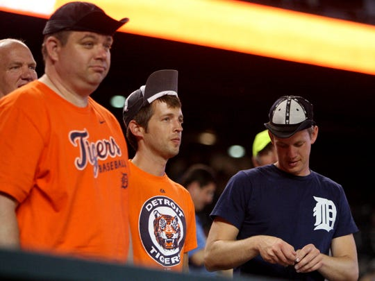 Tigers fans put on their rally caps against the Royals in 2014.
