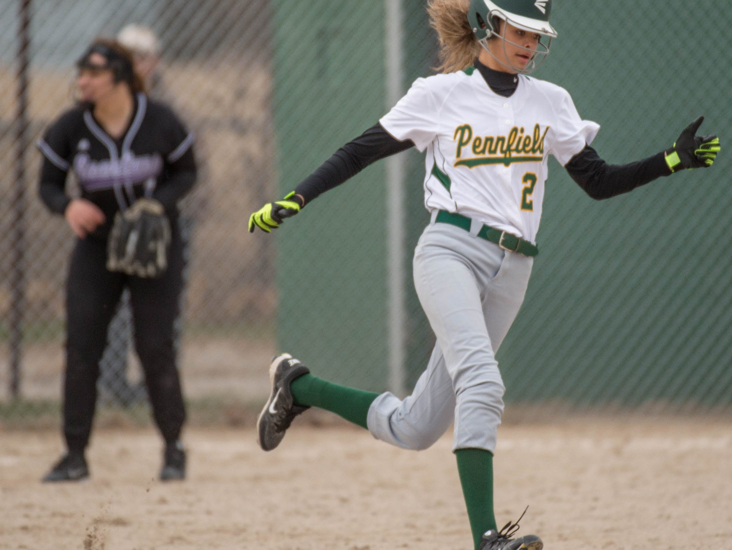 Pennfield's Alexa Stephenson (2) rounds second base during a recent game against Lakeview.