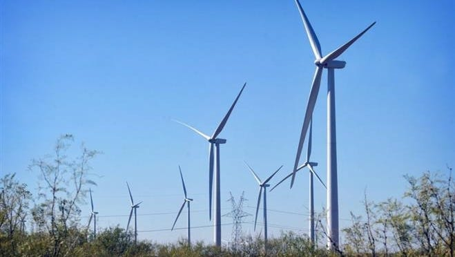 In this 2016 photo, wind turbines are seen in Clay County. A $335 million wind farm project, El Campo, is set to begin construction in Knox County and should be complete by July 2020.