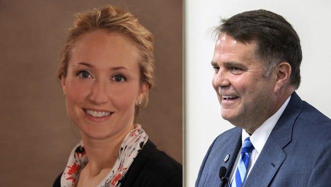 Buncombe County Commissioners Miranda DeBruhl and David Gantt