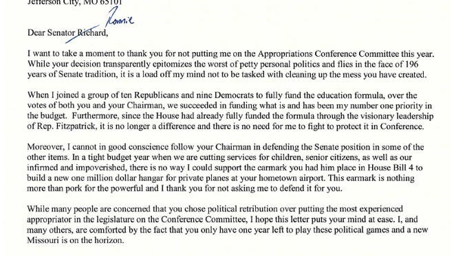 A letter to Senate President Pro Tem Ron Richard, R-Joplin, from Sen. Ryan Silvey, R-Kansas City, dated Wednesday, May 3, 2017. Silvey and several of his fellow Republicans have grown increasingly vocal and frustrated with Richard and others on the Senate GOP leadership team, and Richard's decision to leave Silvey out of budget negotiations with the House prompted Silvey to write this open letter.