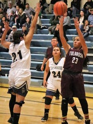 Tularosa's Brynn Martinez takes a shot in the paint.