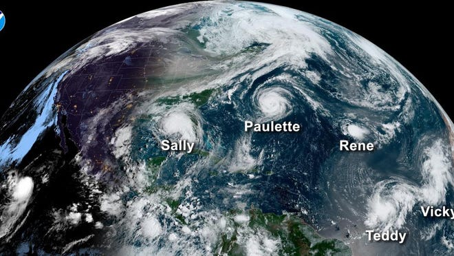 On Sept. 14, five tropical systems were spinning in the Atlantic basin at one time. From left: Hurricane Sally in the Gulf of Mexico, Hurricane Paulette east of the Carolinas, the remnants of Tropical Storm Rene in the central Atlantic, and tropical storms Teddy and Vicky in the eastern Atlantic.