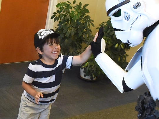 Wearing a Stormtrooper hat, 4-year-old Westly Strosnider
