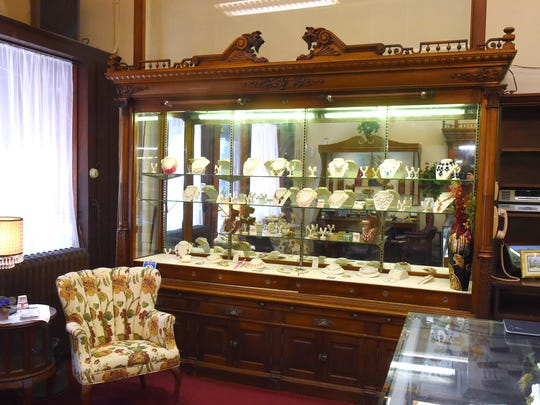 One of several antique display cabinets within H.L. Lang & Co. Jewelers in downtown Staunton.