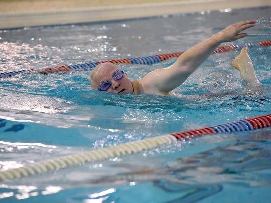 Ingold Hahn swims the laps at the Waynesboro YMCA before